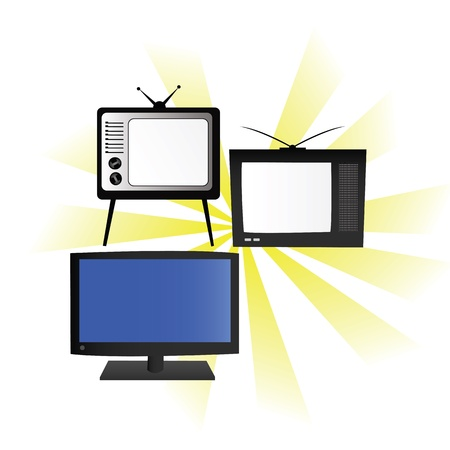 flat screen tv: From old to new version of television Illustration