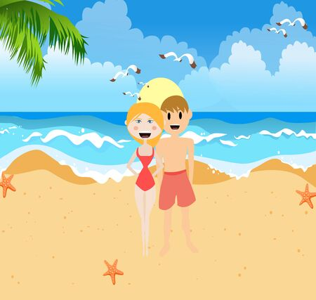 short trip: Beach Couple Illustration