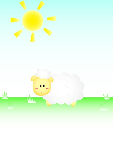 Sheep In the sun Stock Vector - 17088218