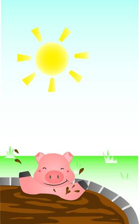 Pig Bathing Mud Illustration