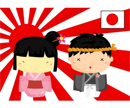 japan culture: Japan Culture and Flag Illustration
