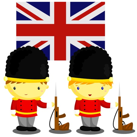 British Soldier and Flag Vector