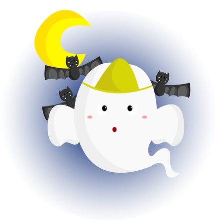 Ghost and Bats Vector