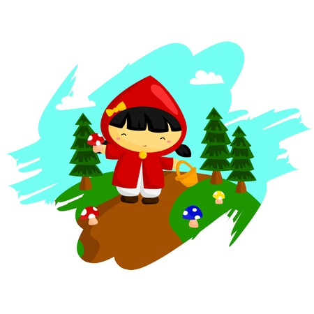 cartoon little red riding hood: Little Red Hood Illustration