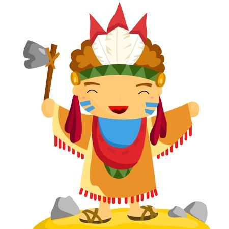 native american man: Native Indian Illustration