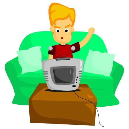 man watching tv: Watching TV Illustration
