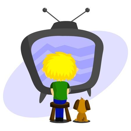 woman watching tv: Watching Television