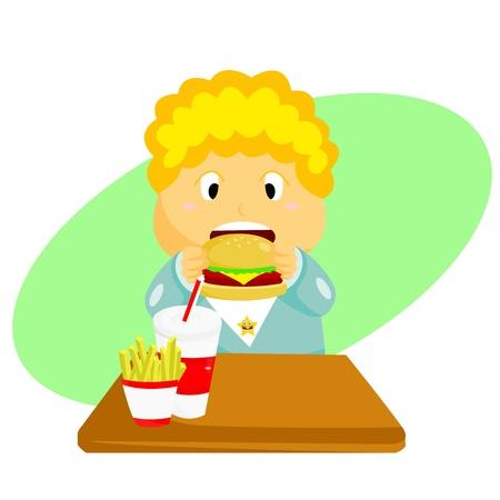 open sandwich: Burger Kid Illustration