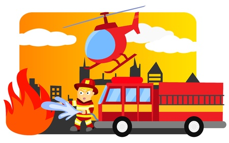fire truck: Firefighter