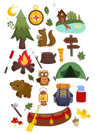 thermos: Camping vector set