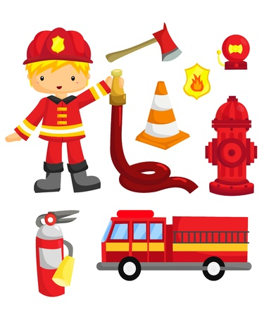 fire truck: Fireman Vector Set Illustration