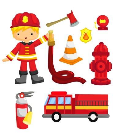 camion de pompier: Pompier Vector Set Illustration