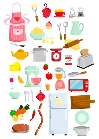 Kitchen Set Vector Ilustración de vector