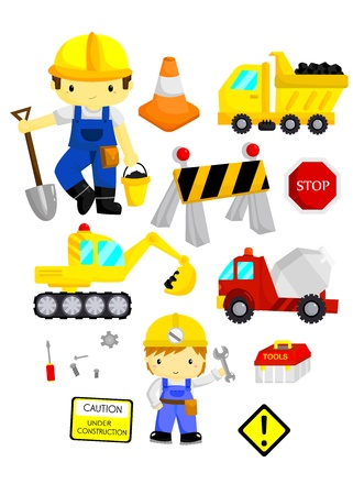 light brown hair: Construction Vector Set