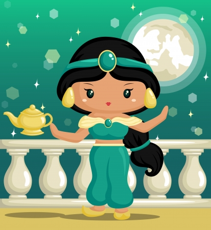 Arabian Princess down the Moonlight Vector