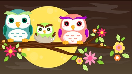 Owl Family Stock Vector - 26051332