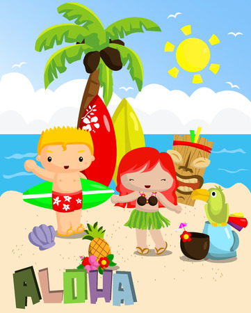 Aloha picnic in summer Vector