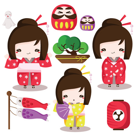 Japanese culture elements Set Illustration