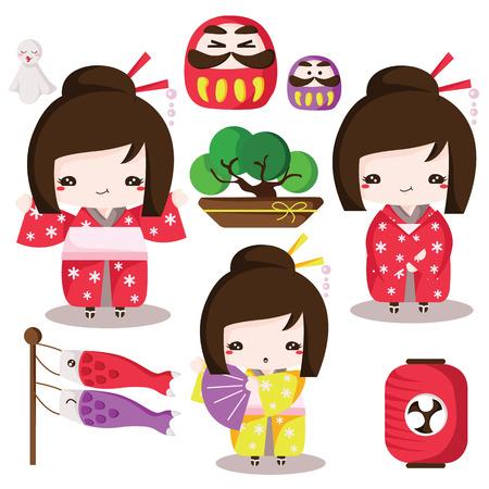 Japanese culture elements Set Illustration