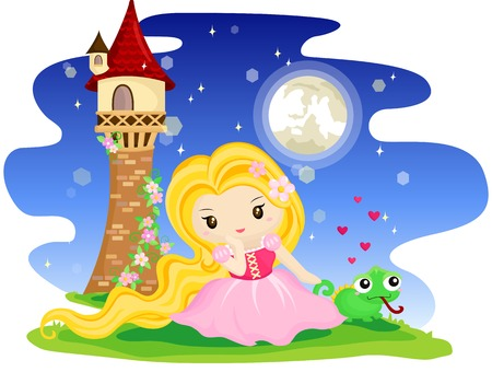 haired: Long Haired Princess Illustration