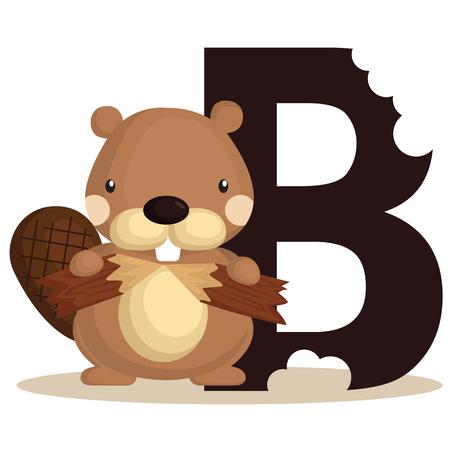 B for beaver Vector