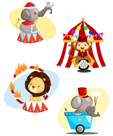 fire ring: Circus Set Animal Vectores