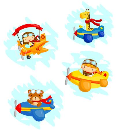 oso caricatura: Piloto Vector Set