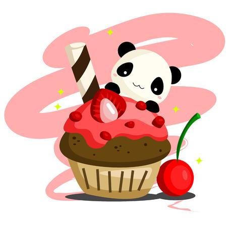 Panda et petit gâteau