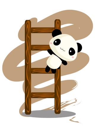 Panda climbing ladder Illustration