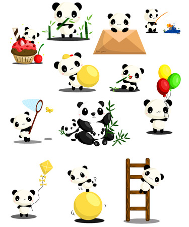 Panda activity set Vector