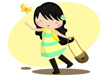 hairpin: Happy girl illustration
