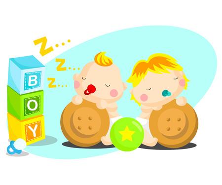 Sleepy babies illustration  Vector