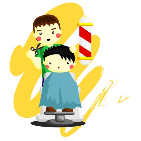 set of men hair styling: Barbershop cartoon Illustration