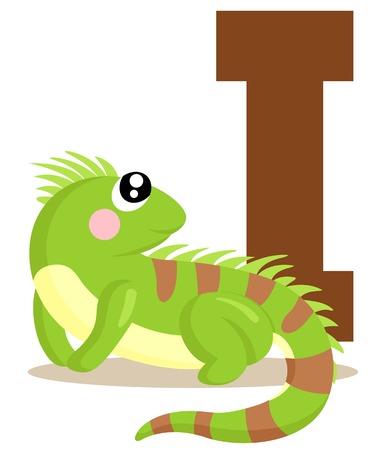 Alphabet I for iguana Illustration