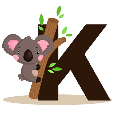 Alphabet K for Koala Vector