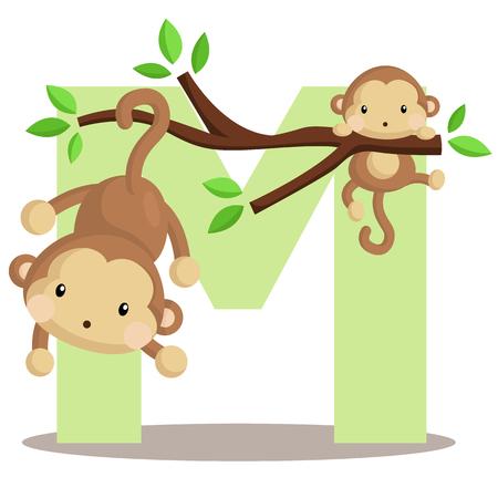 Alphabet M for Monkey Vector