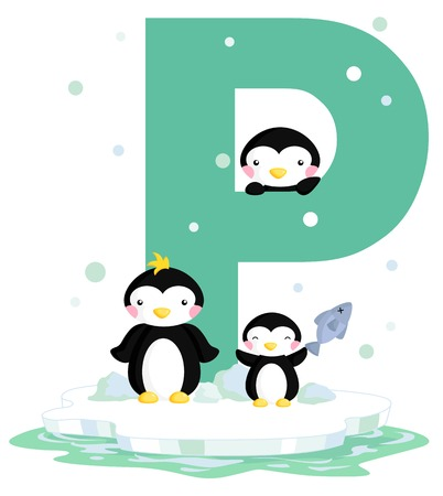 Alphabet P for Penguin Vector