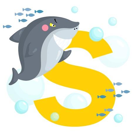 Alphabet S for Shark Vector