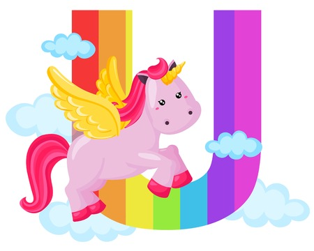 Alphabet U for Unicorn Vector