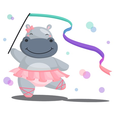 Ballerina Hippo Stock Illustratie