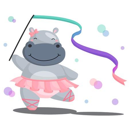 Ballerina Hippo Illustration
