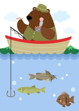 brown trout: Fishing Bear Illustration