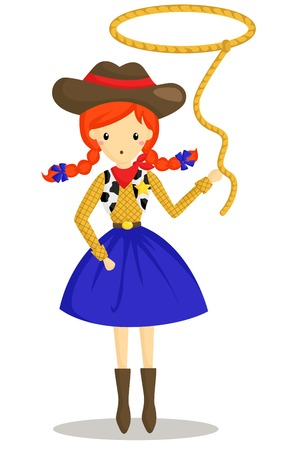jeans skirt: Cowboy Girl Illustration