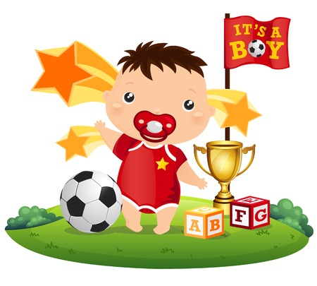 Soccer Baby Boy Vector