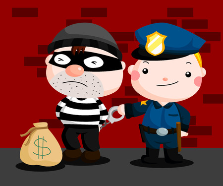 police cartoon: Police and Robber