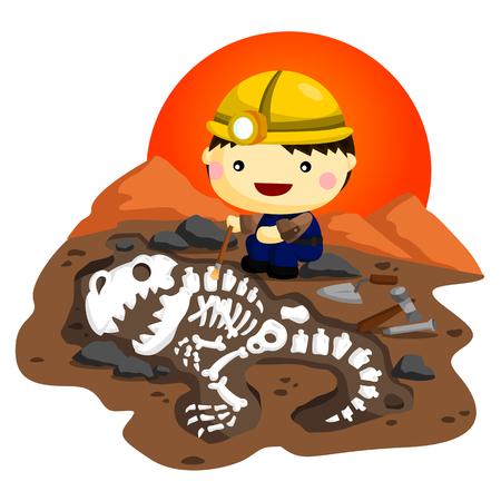skeleton cartoon: Archaeologist