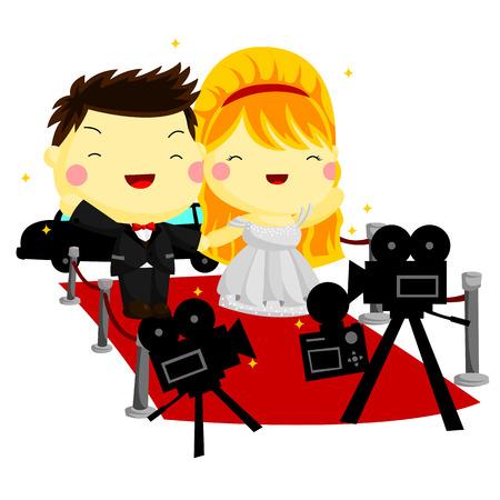 Celebrity couple illustration  Illustration