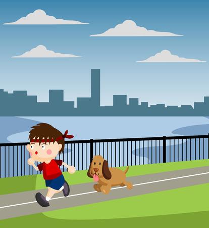 dog park: Jogging Illustration