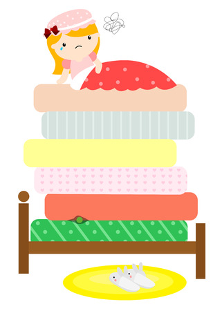The princess and the pea Stock Illustratie
