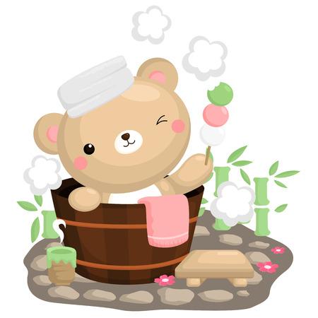 cartoon wood bucket: Japan Bear Spa